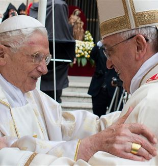 Pope Benedict XVI [L] with Pope Francis [R]