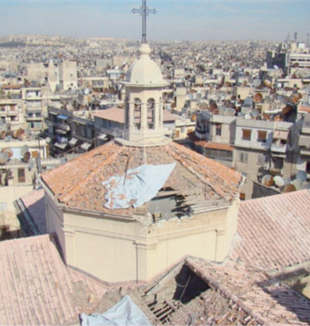 St. Francis Church, Aleppo, with the dome demolished by a missile.