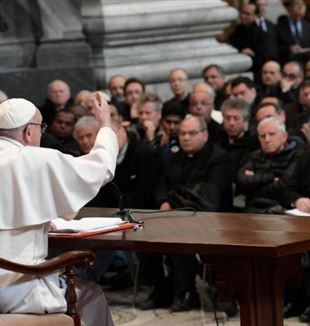 Pope Francis addresses priests of the Diocese of Rome during a meeting at the Basilica of St. John Lateran in Rome March 2. (CNS photo/L'Osservatore Romano, handout) See POPE-ROME-PRIESTS March 2, 2017.