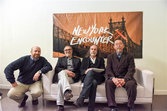 (L-R) Damian Bacich, New York Encounter president Maurizio Maniscalco, John Waters and Etsuro Sotoo. Photo by Patrycja Janowski