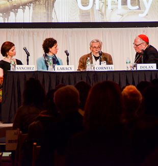(L-R) Paige Sanchez, Dr. Margaret Laracy, Tom Cornell and Cardinal Timothy Dolan. Photo by Felicia Di Salvo