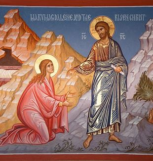 Icon of St. Mary Magdalene and the Risen Christ. Photo by Ted