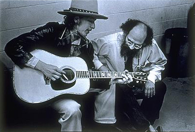 Bob Dylan (left) and Beat poet Allen Ginsberg. Photo by Elsa Dorfman via Wikimedia Commons