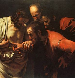 The Incredulity of Saint Thomas by Caravaggio. Via Wikimedia Commons