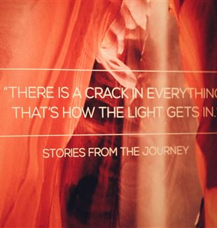 There's a crack in everything, that's how the light gets in, exhibit. Photo by Margaret Stokman