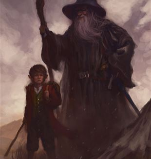 Over Hill (Bilbo and Gandalf) by Artist Joel Lee via Wikimedia Commons