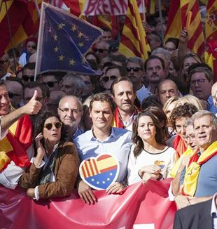 Albert Rivera, Xavier García Albiol and other opponents of Catalonia's independence from Spain. Photo by Robert Bonet via Wikimedia Commons