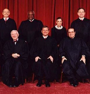 The United States Supreme Court. Top row (left to right): Associate Justice Stephen G. Breyer, Associate Justice Clarence Thomas, Associate Justice Ruth Bader Ginsburg, and Associate Justice Samuel A. Alito.