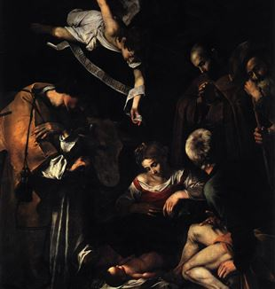 Nativity with St. Francis and St. Lawrence by Michelangelo Merisi da Caravaggio