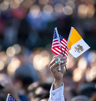An American and Vatican Flag. Official White House Photo by Lawrence Jackson