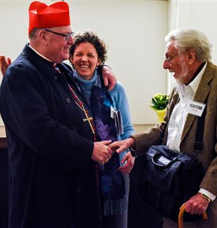 (L-R) Cardinal Timothy Dolan, Margaret Laracy and Tom Cornell. Photo by Patrycja Janowski