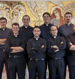 Stefano Lavelli (front right) and other FSCB seminarians waiting to be ordained.