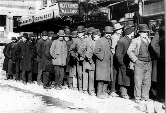 NYC Men Waiting in a Bread Line. Wikimedia Commons