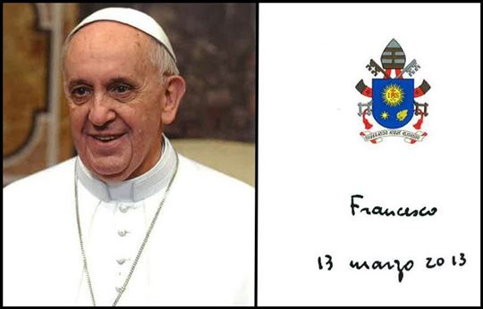 Pope Francis and his signature.