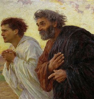 The Disciples Peter and John Running to the Tomb by Eugene Burnand via Wikimedia Commons