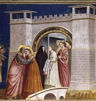 Scenes from the Life of Joachim: 6. Meeting at the Golden Gate by Giotto. Via Wikimedia Commons