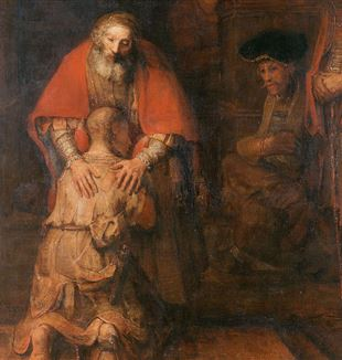 The Return of the Prodigal Son (detail) by Rembrandt van Rijn. Via Wikimedia Commons