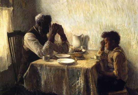 'The Thankful Poor' by Henry Ossawa Tanner. Via Wikimedia Commons
