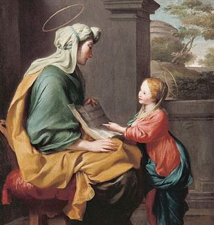 'The Education of the Virgin Mary' attributed to Giovanni Romanelli. Wikimedia Commons