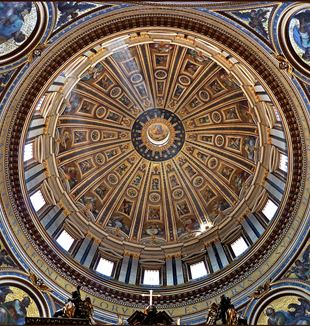 Dome of Saint Peter's Basilica. Wikimedia Commons