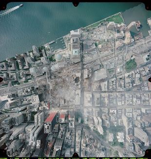 Aerial view of the World Trade Center site in September 2001. Wikimedia Commons