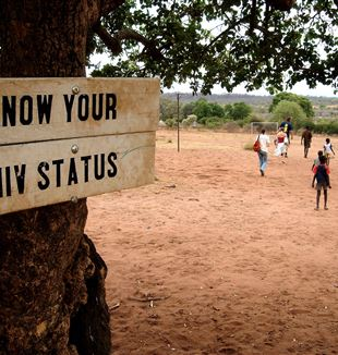 Sign: Know your HIV status in Zambia, Africa. Commons