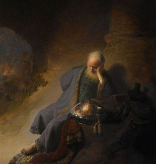 'Jeremiah Lamenting the Destruction of Jerusalem' by Rembrandt. Wikimedia Commons