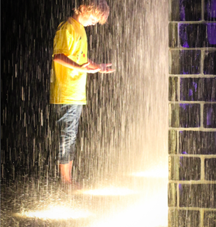 Boy in Crown Fountain. Photo by Sharon Mollerus