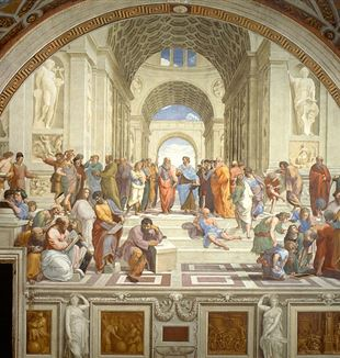 """School of Athens"" by Raffaello Sanzio da Urbino. Via Wikimedia Commons."