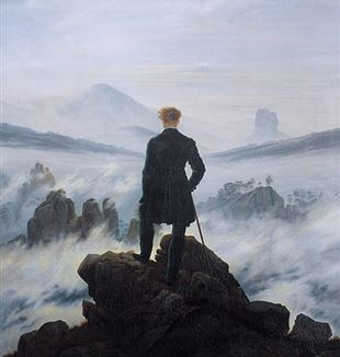 """The Wanderer Above the Sea of Fog"" by Caspar David Friedrich. Via Wikimedia Commons."