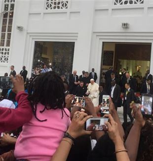 Pope Francis during his visit to Mozambique's capital