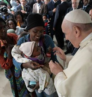 Pope Francis at the Zimpeto Hospital