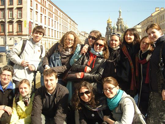 In St. Petersburg, with students from St. Tikhon's Orthodox University and the Catholic University of Milan