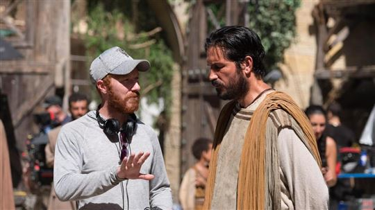 "Director Andrew Hyatt with Jim Caviezel on the set of ""Paul, apostle of Christ"""