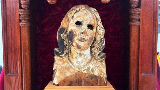 The head of the statue of the Virgin from the cathedral in Urakami