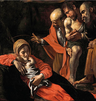 "Caravaggio, ""Adoration of the Shepherds"" (detail), 1609, Museo Regionale, Messina"