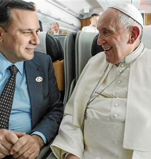 Andrea Monda with Pope Francis