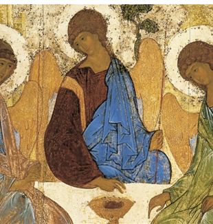 The Trinity by Andrei Rublev. Via Wikimedia Commons