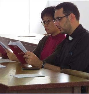 Fr. Donato Contuzzi, missionary from the Fraternity of St. Charles in Taiwan, with Xue Ning